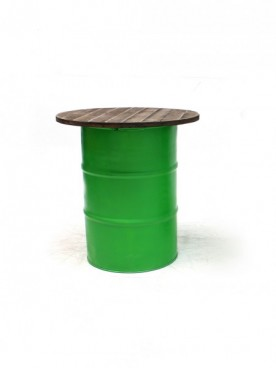 Green Steel Barrel Pod Table 1m