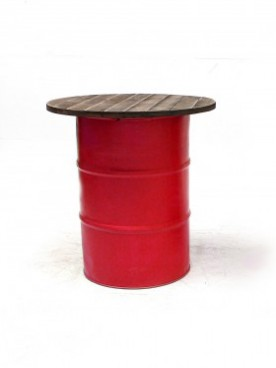 Red Steel Barrel Pod Table 1m
