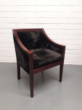 Retro Black Velvet Walnut Chair