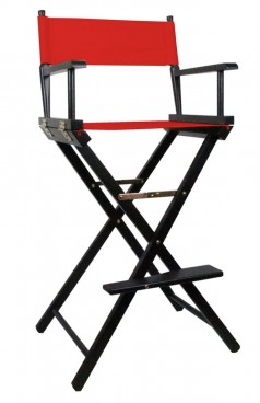 Tall Directors Makeup Chair with Red Canvas