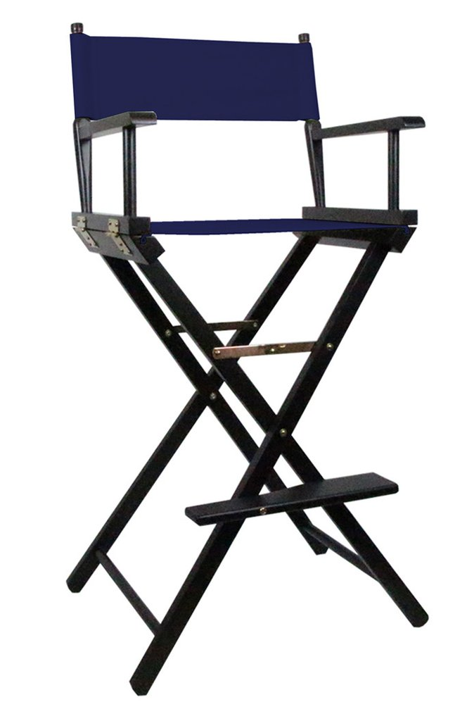 Tall Directors Makeup Chair with Blue Canvas