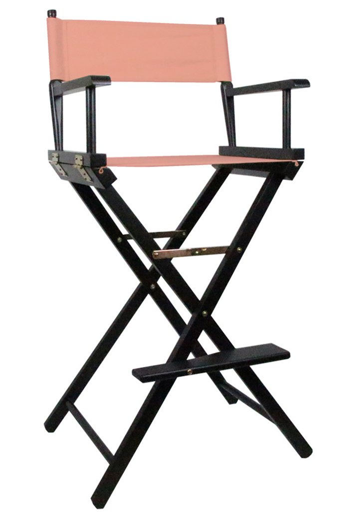 Tall Directors Makeup Chair with Pink Canvas