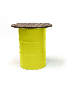 Yellow Steel Barrel Pod Table